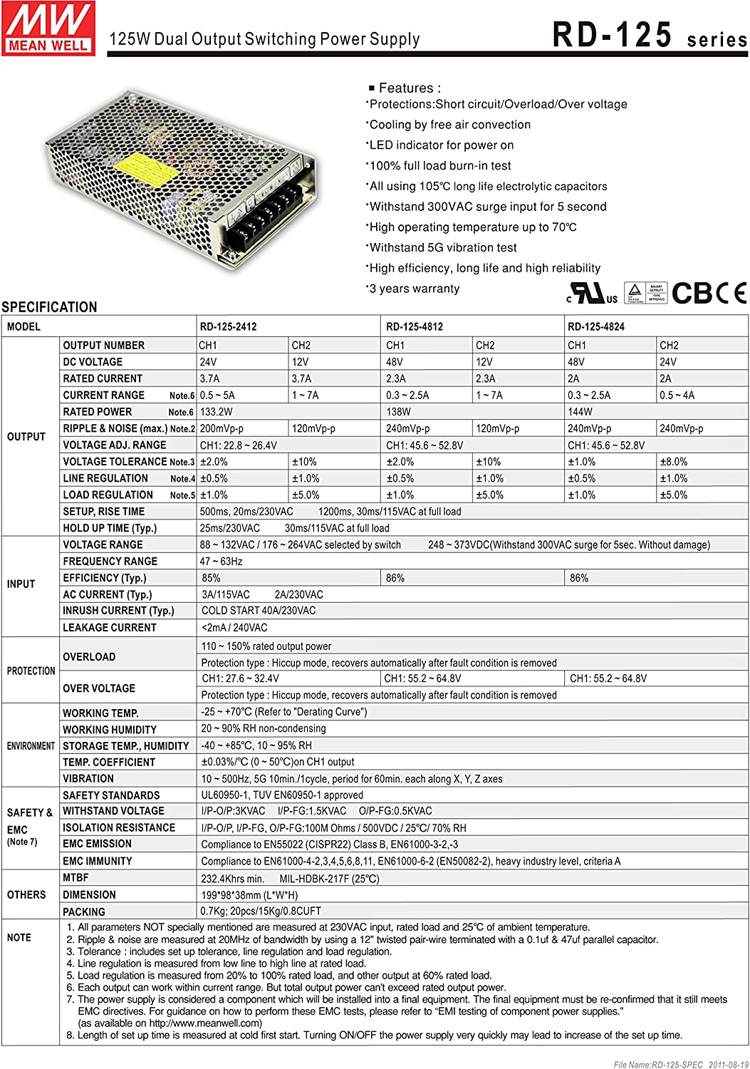 MW Mean Well RD-125-1224 12V//24V 3.7A 132W Dual Output Switching Power Supply