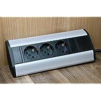 Premium hoekstopcontact 3x Schuko voor keuken, kantoor van aluminium. Meervoudige stekkerdoos met 1,8 m Schuko-kabel ook…
