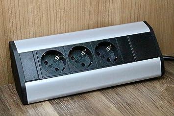 Premium Eck-Steckdose 3x Schuko aus Aluminium für Küche, Büro, Möbel ...