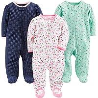 Simple Joys by Carter's Pies de algodón para Dormir y Jugar bebés niñas, Pack de 3