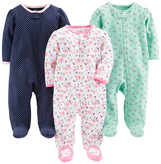 1885299f9e10 Amazon.com  Simple Joys by Carter s Baby Girls  3-Pack Sleep and ...