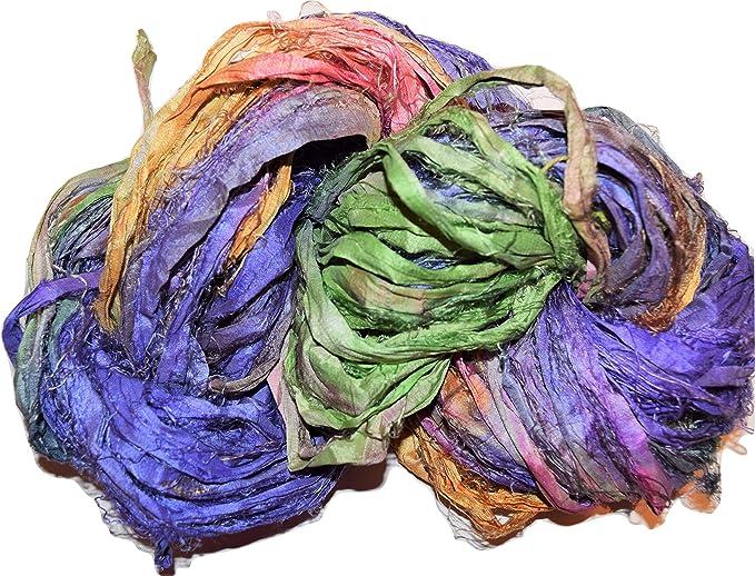 100 gram Recycled Sari BOHO Silk Ribbon Interesting Silver