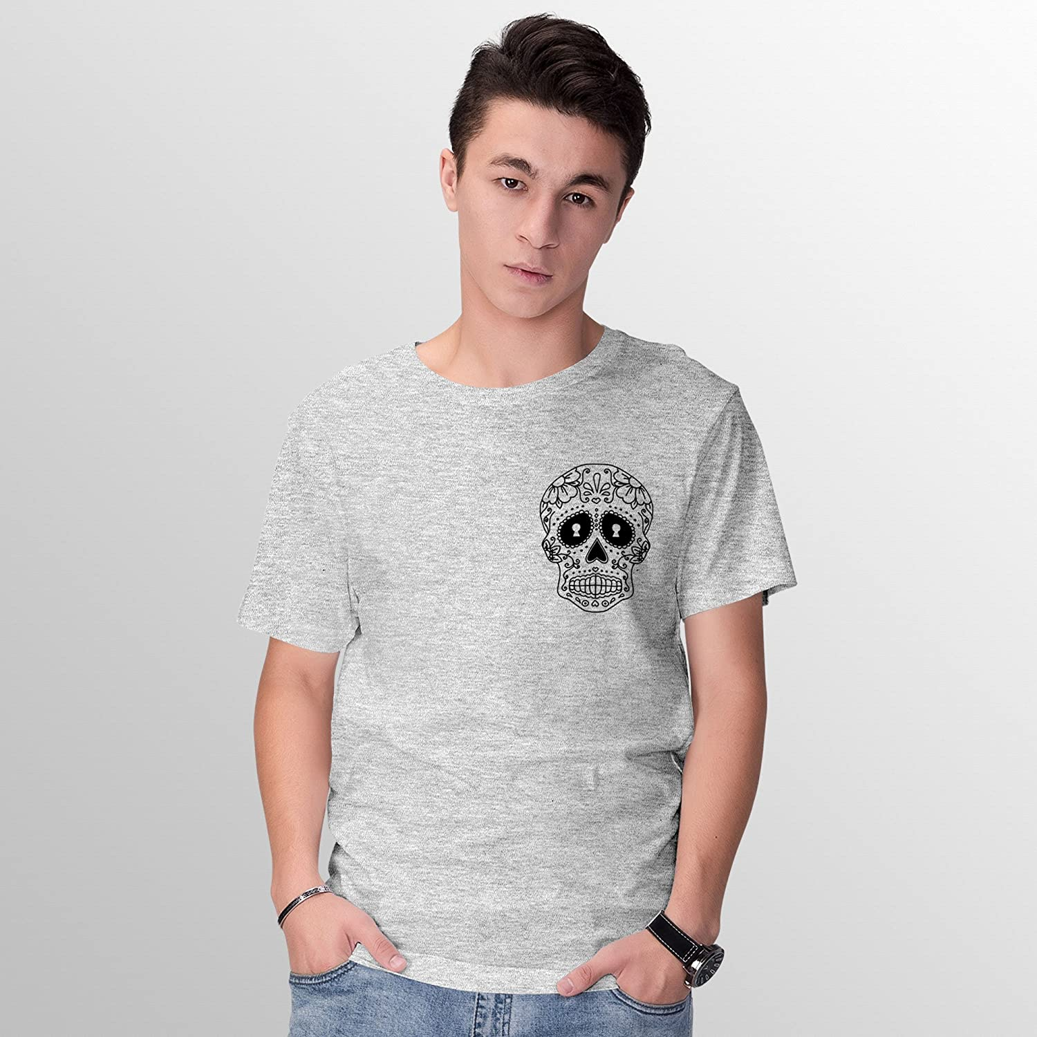Shirt Ladies Fitted Sugar Skull Mexican Day Of The Dead T-Shirt Short Sleeve Top Unisex Tee