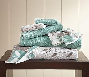 Costa del Pacífico textiles 6 pc hilo teñido toalla orgánico Vines Aqua, juego de 6: Amazon.es: Hogar