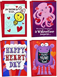 Hallmark Valentines Day Cards Assortment for Kids, 8 Valentine's Day Cards with Envelopes (Bee, Octopus, Monster)