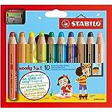 Stabilo 880/10-2 Woody 3 in 1, 10 Pezzi, Multicolore