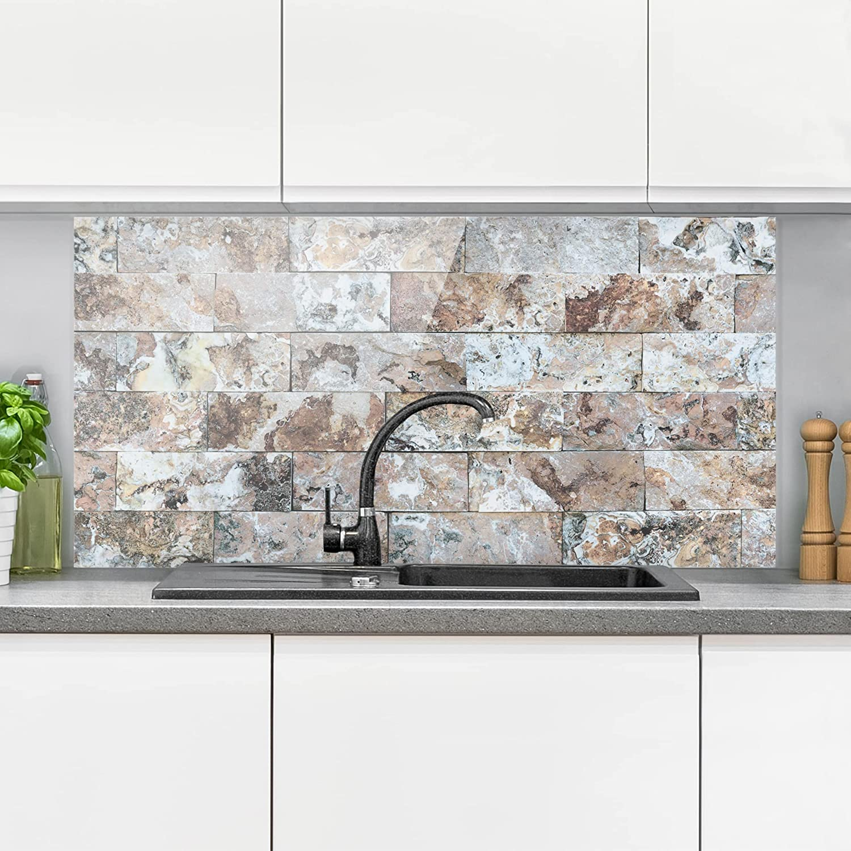 Natural Marble Stone Wall Tama/ño: 40cm x 80cm Horizontal 1:2 panel antisalpicaduras panel de vidrio para cocina panel protector contra salpicaduras Bilderwelten Panel antisalpicaduras de cristal