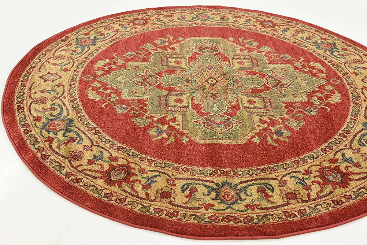 Beautiful Traditional Serapi Cllection Design, Red 6 FT Round Area Rug - Home Décor Foor Carpet Living Dinning Room and Bedroom Rugs, Warm Up Your Home Décor