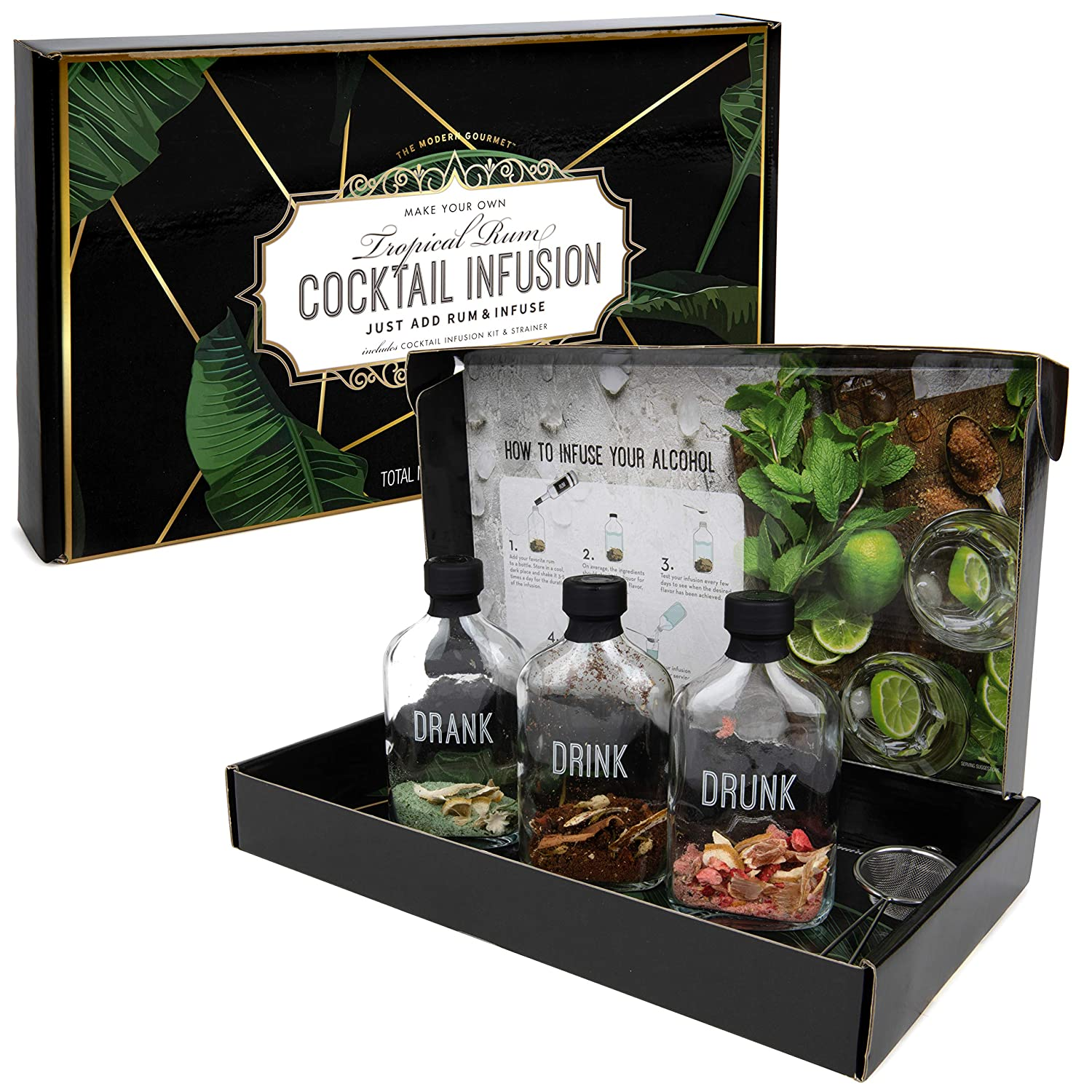 Thoughtfully Gifts, Rum Cocktail Infusion Gift Set, Flavors Include Mojito, Caribbean Twist and Strawberry Daiquiri, Pack of 3 (Contains NO Alcohol)