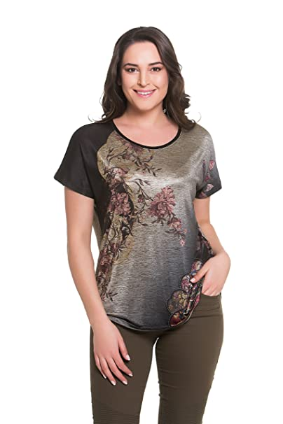 a65beb5c25f94 Tops   Plus Women s Plus Size Rococo Rose Top - BEIGE at Amazon ...