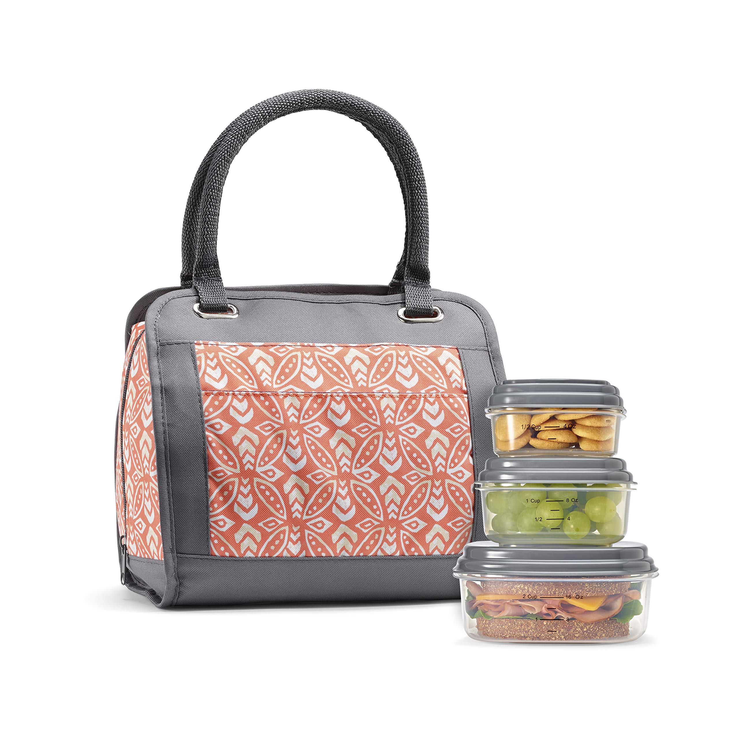 Fit & Fresh Insulated Lunch Bag Kit, includes BPA-Free Container Set, Ashland Orchid Dogwood by Fit & Fresh