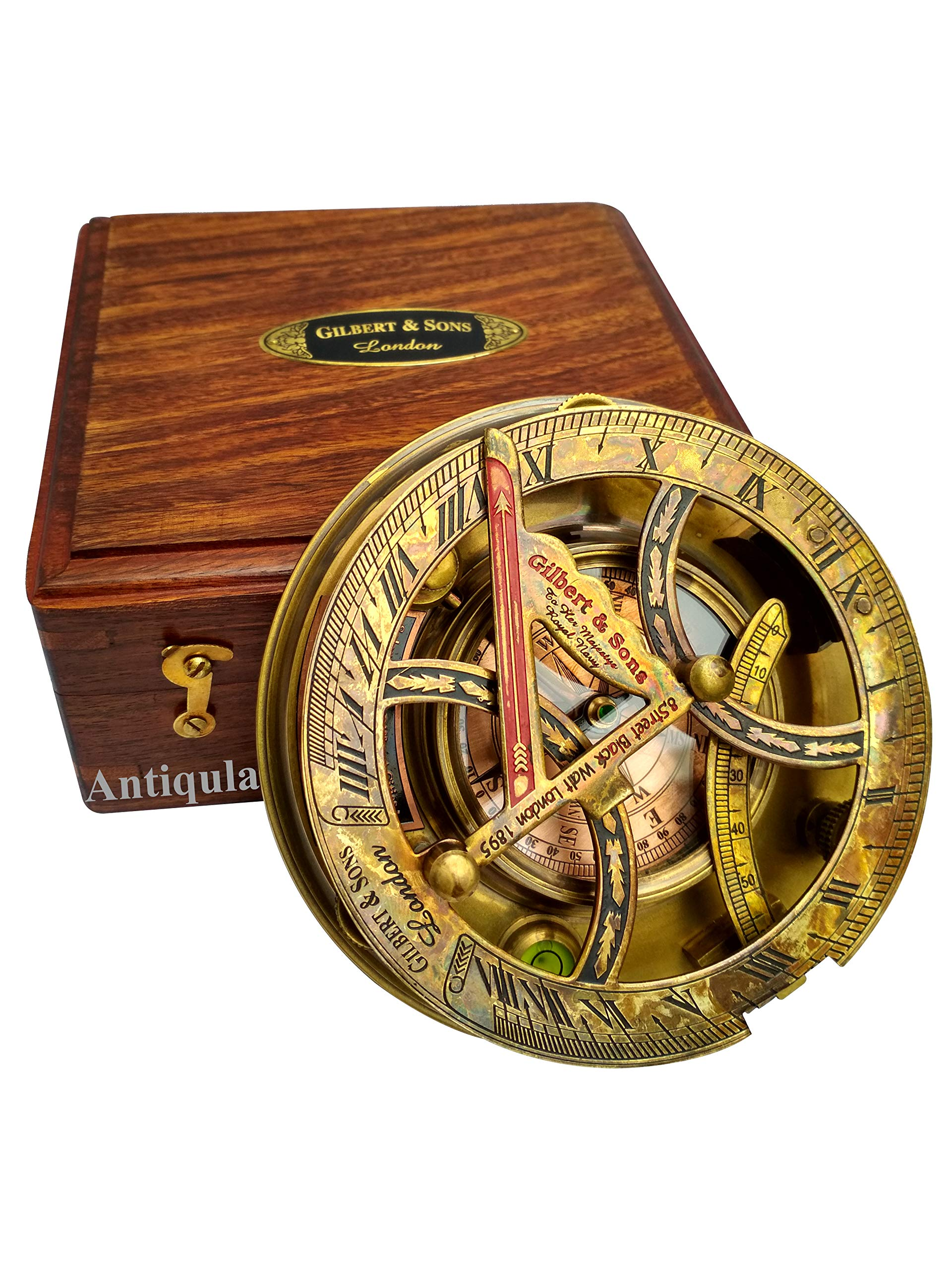 Steampunk Antique Look Vintage Time Keeping Solar 5'' Sundial Compass with Wooden Box and Chart by Antiqula