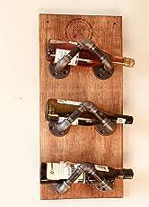 Cava estilo industrial modelo Castilla ensamblada en tubería de hierro al carbono de media pulgada y madera sólida entintada a mano soporte para vinos y licores para colgar en pared para cantina, casa, restaurante. ManCave Urban