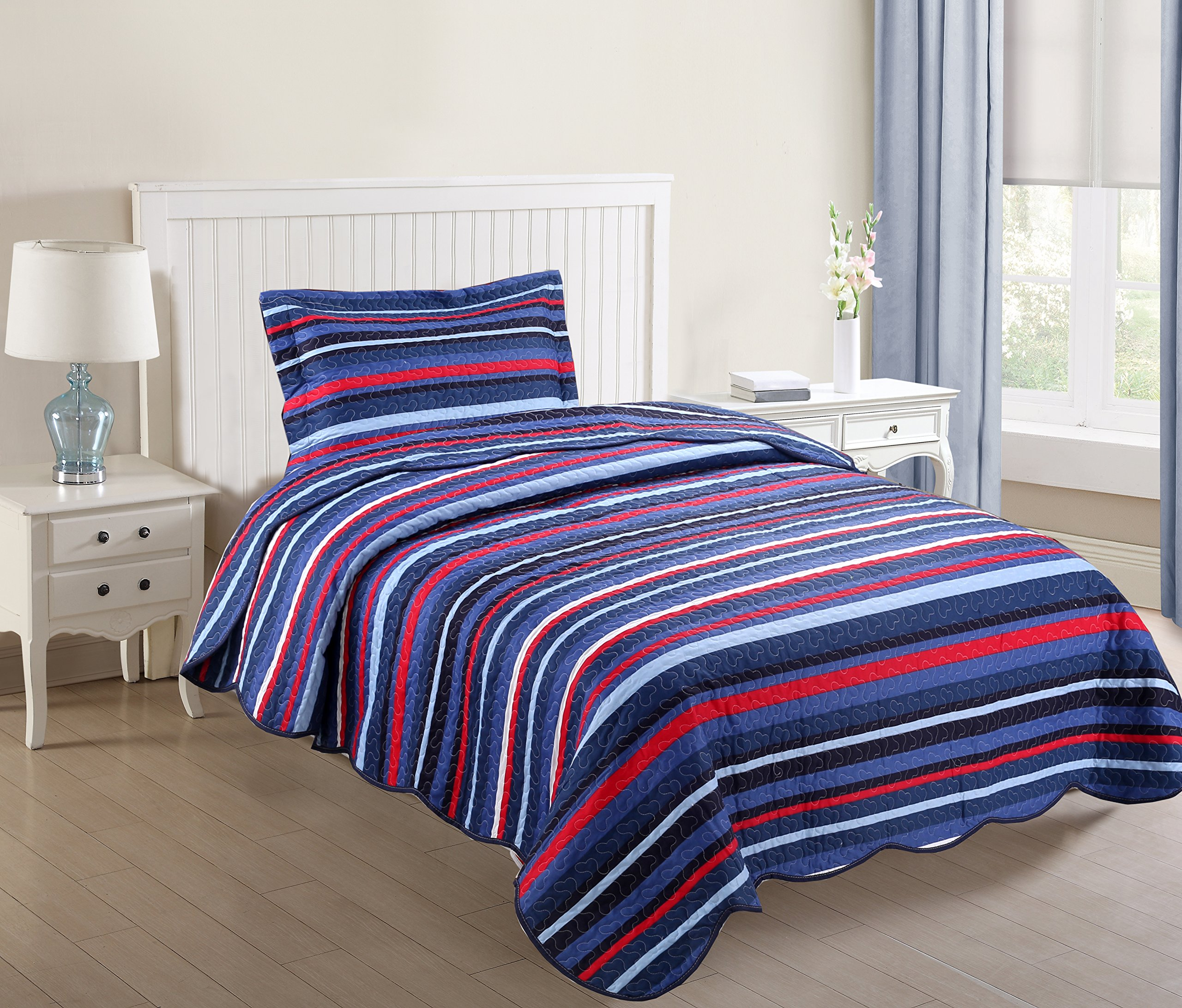 MarCielo 2 Piece Kids Bedspread Quilts Set Throw Blanket for Teens Boys Girls Bed Printed Bedding Coverlet, Twin Size, Blue Striped (Twin)