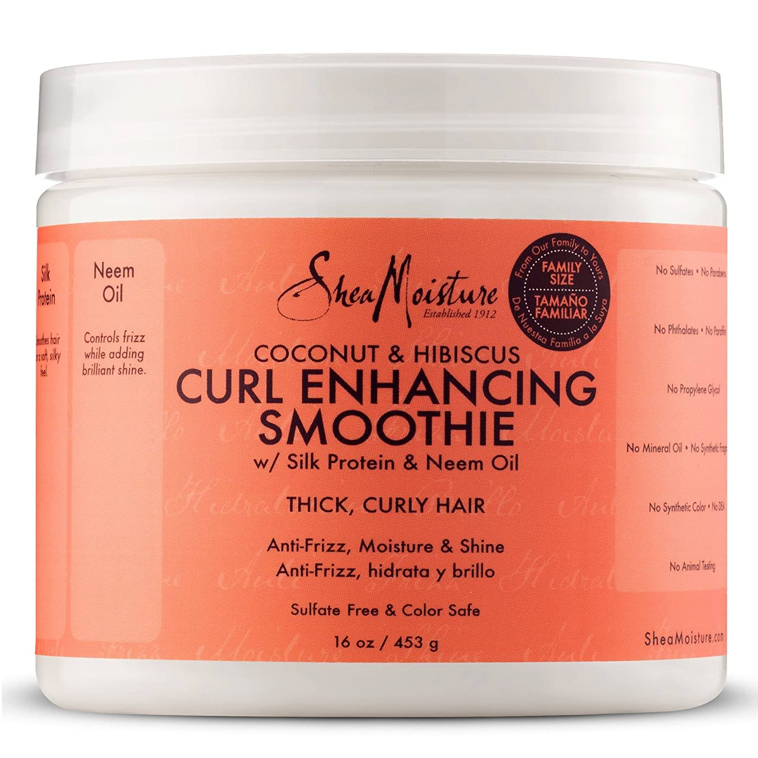 SheaMoisture Coconut and Hibiscus Curl Enhancing Smoothie | Family Size | 16 oz. B0118Q5I2Y