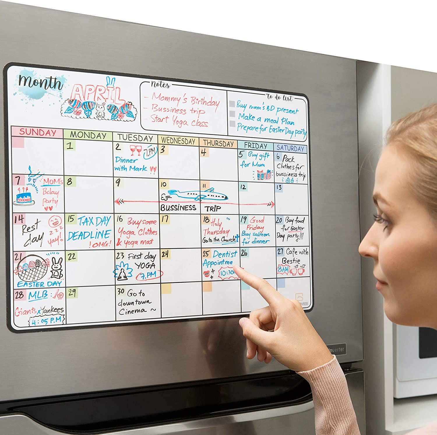 Goombi Magnetic Dry Erase Calendar for Refrigerator - 17x12 inches - Large Magnetic Whiteboard Calendar Organizer Set - Stain Resistant Technology - 4 Fine Tip Markers & Eraser with Magnets Included