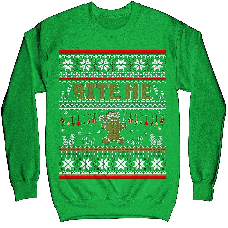 Noel Merry Xmas Sweatshirt Gingerbread Man Bite Me Funny Christmas Ugly Sweater Shirt