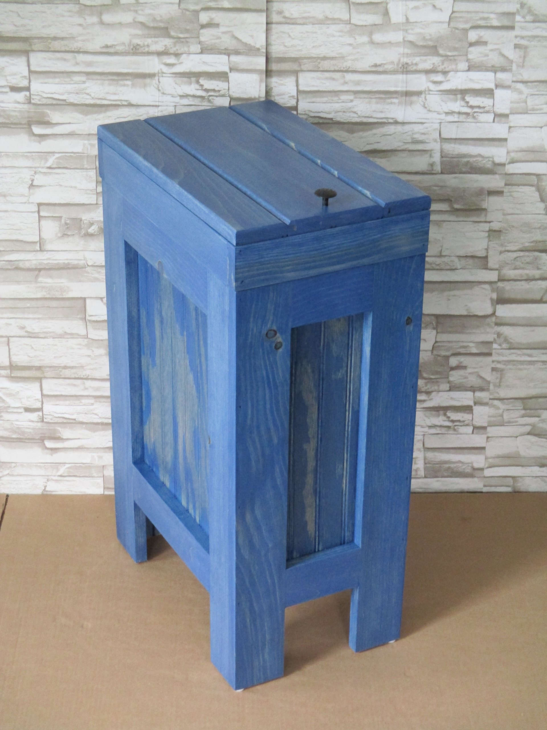 Wood Wooden Trash Bin Kitchen Garbage Can 13 Gallon , Recycle Bin, Dog Food Storage , Island Blue Stain - Pine - Handmade in USA By Buffalowoodshop
