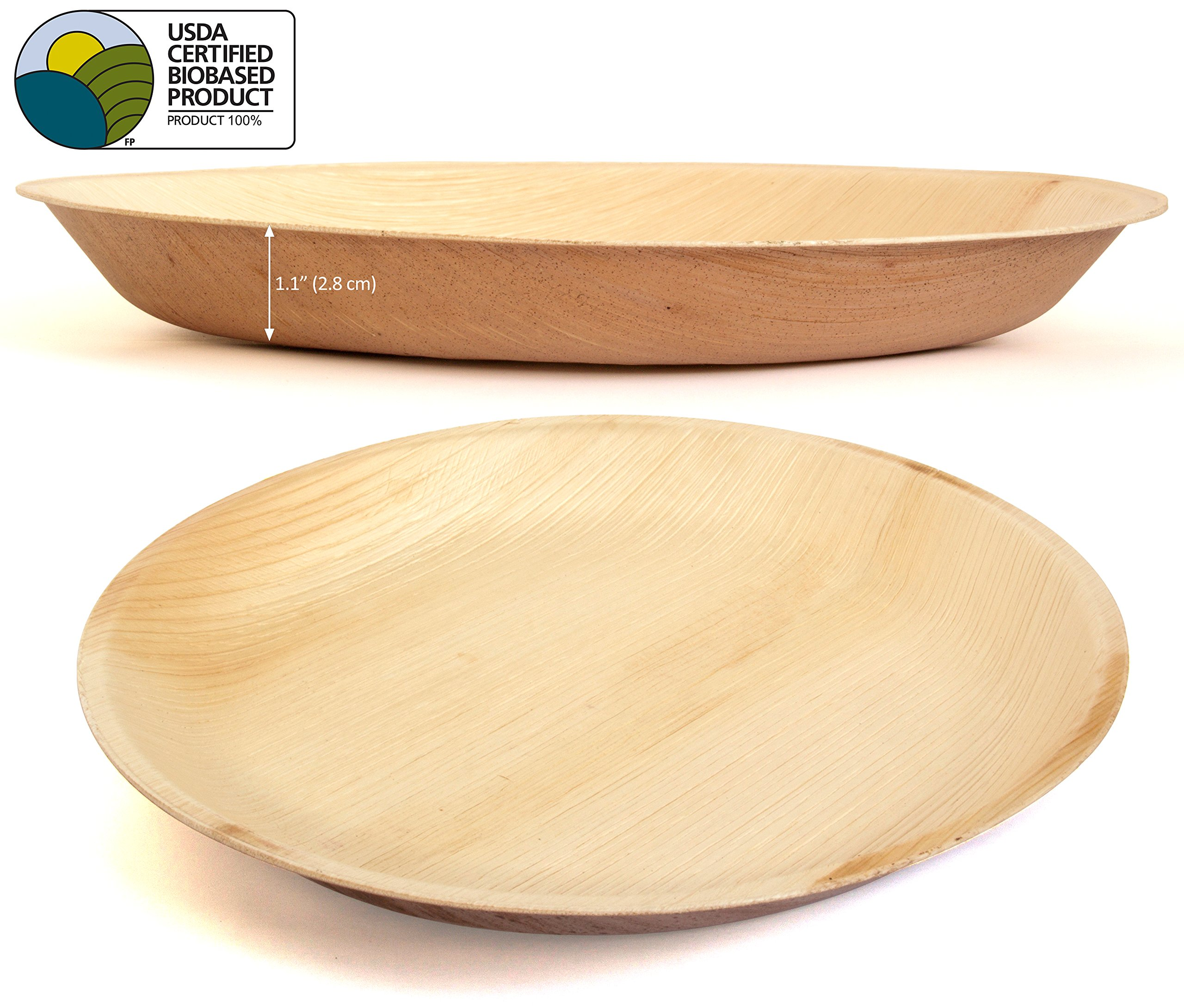 Leafily Palm Leaf Plates - 10 inch Round - Heavy Duty - Elegant - 100% Compostable - Better than Bamboo or Wood - Disposable - Biodegradable - Premium Party Plates - USDA Certified - 22 Count