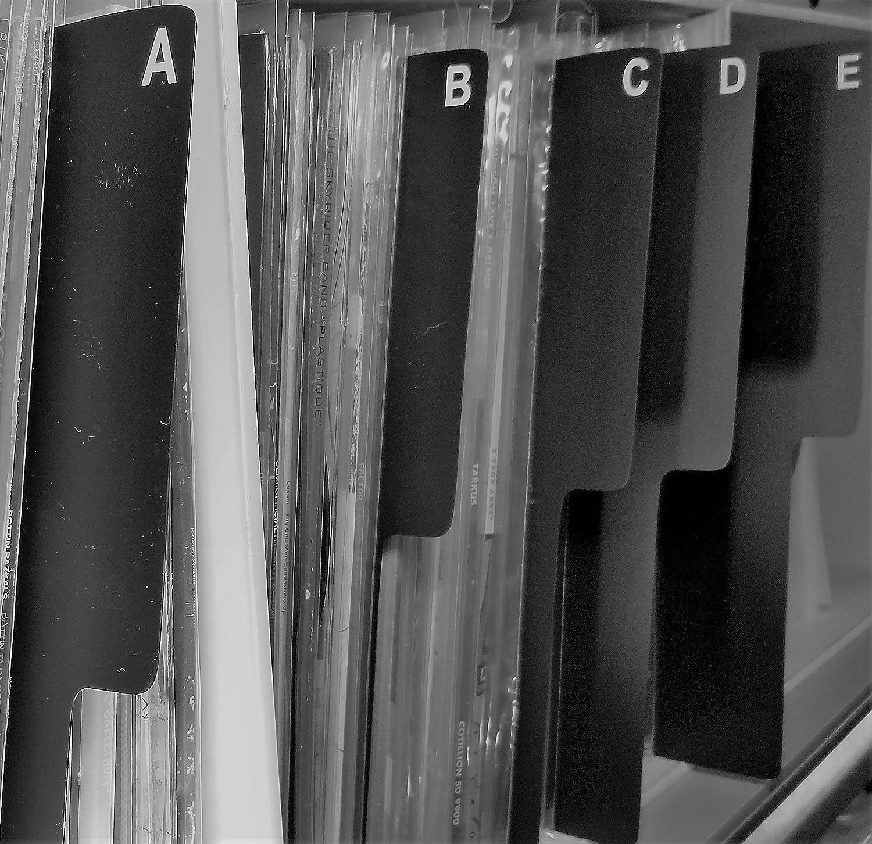 A-Z Shelf Divider Cards BLACK Plastic 26pc. 1 SIDE ONLY for 12