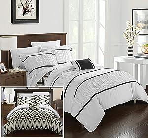 Chic Home Bella 4 Piece Reversible Comforter Bedding Set, King, White