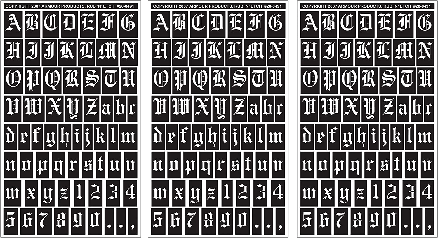 """B007S4SJTK Armour Products Rub 'n' Etch Glass Etching Stencils 5""""X8"""" 3/Pkg Old English Letters & Numbers 12-7026 91lASy2B1Q4L"""