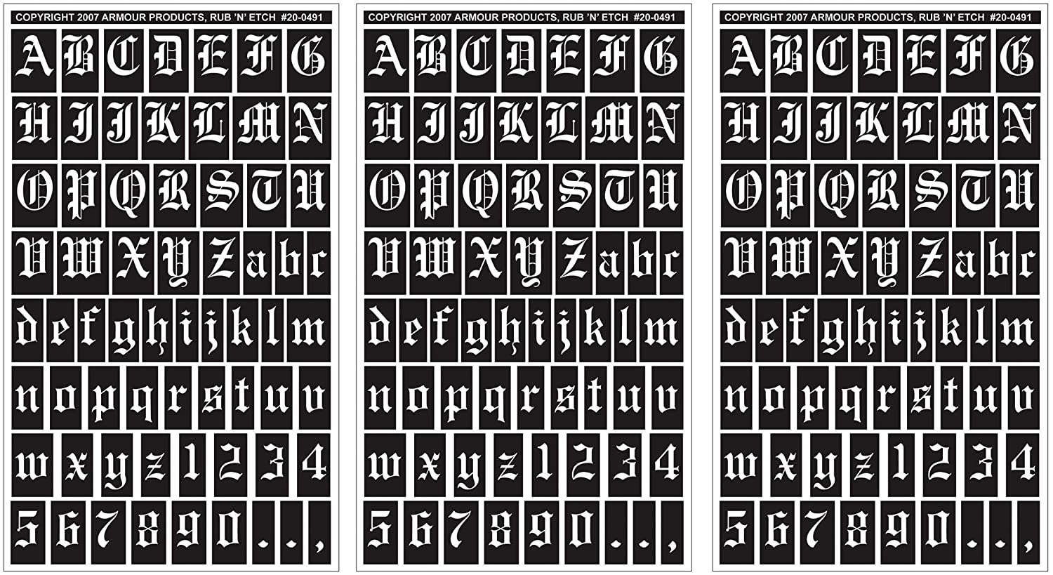 Armour Products Rub 'n' Etch Glass Etching Stencils 5X8 3/Pkg Old English Letters & Numbers 12-7026