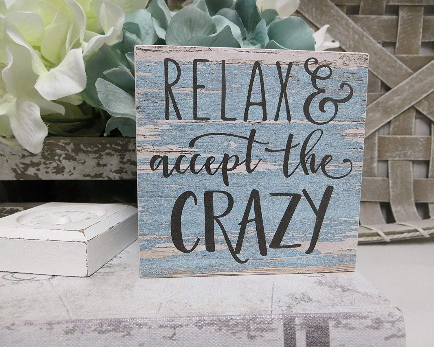 PotteLove Rustic Wooden Plaque Wall Art Hanging Sign Wood Sign, Relax and Accept The Crazy, Office Decor, Humorous Crazy Quote, Funny Office Wood Sign 12