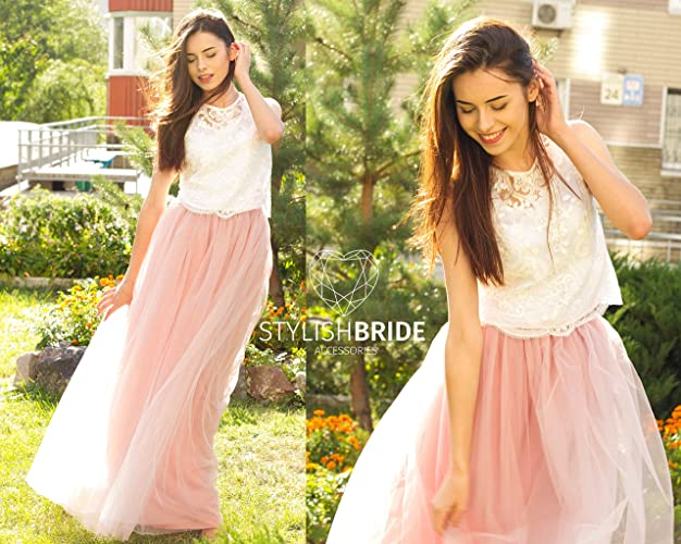 699da95c9c3 Amazon.com: Freesia Dress Tulle Set Lace Crop Top and Tulle skirt long, Lace  Crop Top Bridesmaids Dress Cami Crop Top Tulle Blush Pink Blue Grey Skirt:  ...