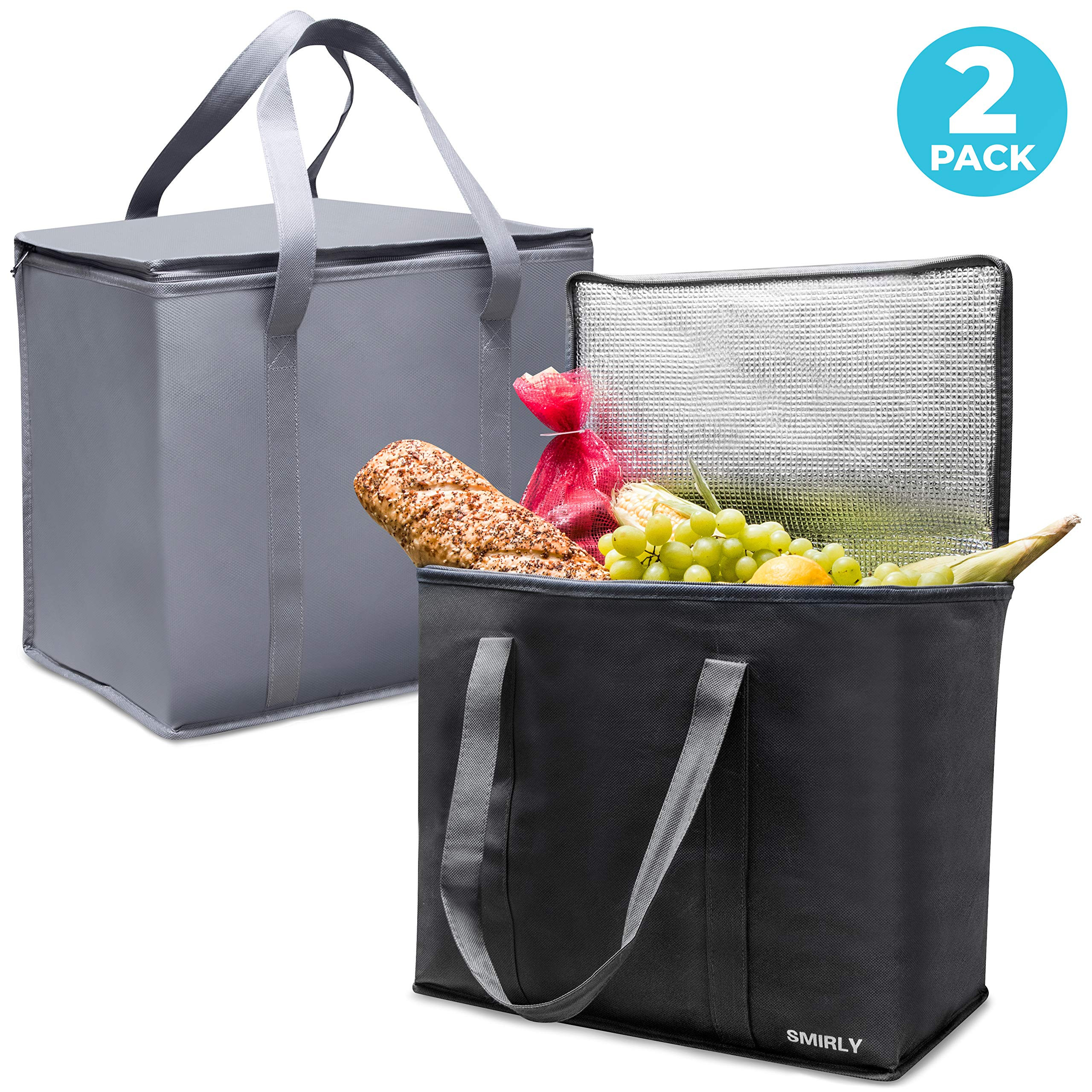Smirly Insulated Reusable Grocery Bags: 2 Pack of Heavy Duty Shopping Bags with Zippered Top and Sturdy Handles – Large Thermal Insulated Tote Bag for Hot or Cold Groceries