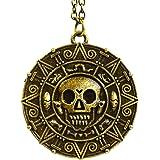 Piratas del Caribe Aztec moneda medallón calavera Charm Collar
