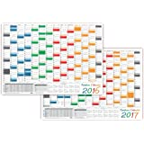LYSCO Rainbow Wandkalender gefaltet / Wandplaner 2016 + 2017 - DIN A2 Format (594 x 420 mm) mit 14 Monaten, kompletter Jahresvorschau 2018 und Ferientermine/Feiertage aller Bundesländer