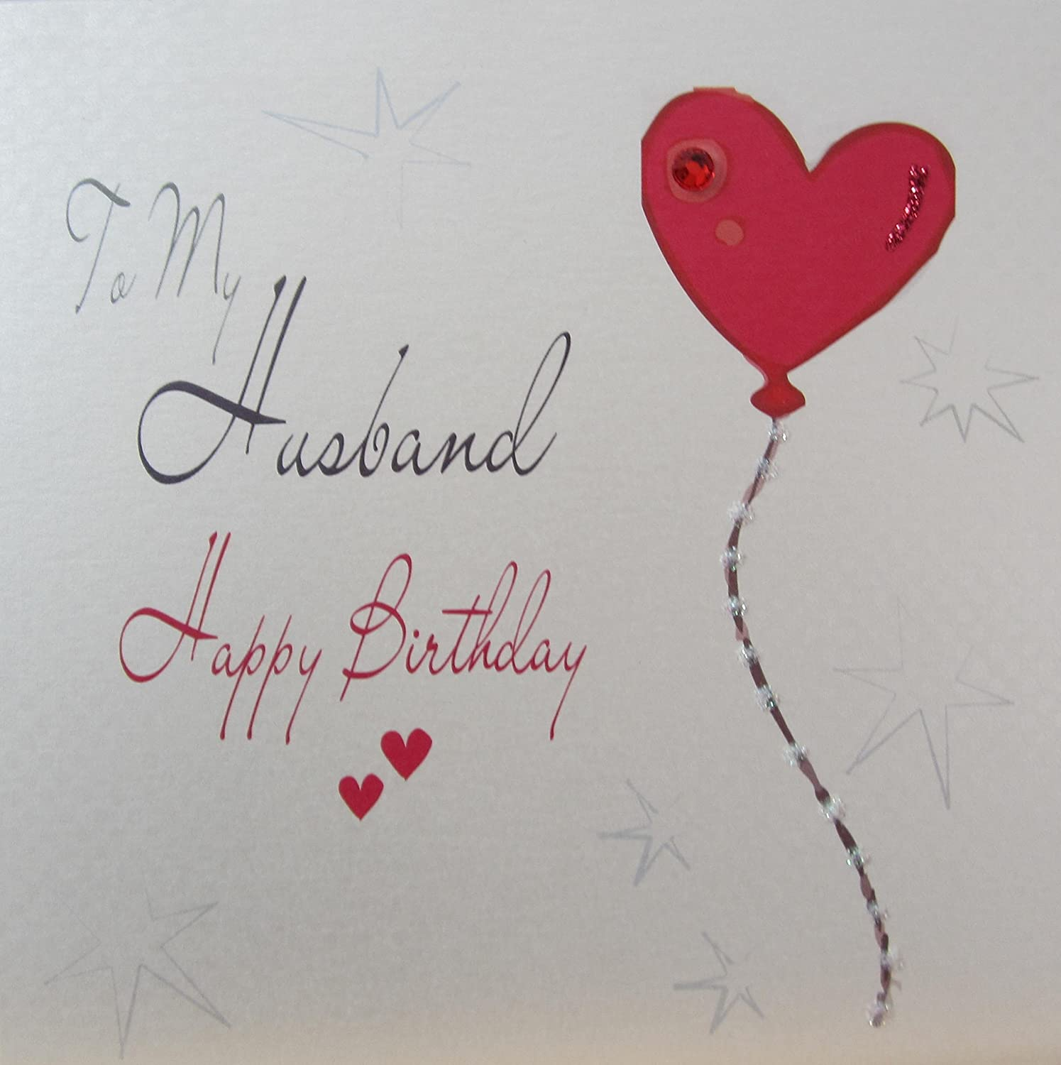 WHITE COTTON CARDS WB194 Heart Balloon To My Husband Happy Birthday Handmade Card White Amazoncouk Kitchen Home