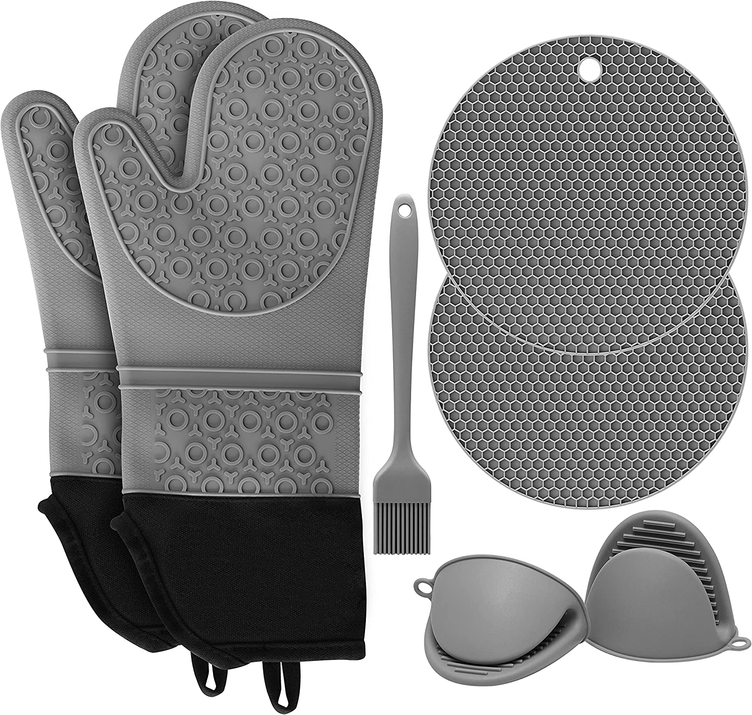 SD SENDAY Extra Long Oven Mitts and Pot Holders Sets, 15 Inches Heat Resistant Silicone Oven Mittens with Mini Oven Gloves Brush and Hot Pads Pot Holders for BBQ Kitchen Baking Cooking, Pack of 7