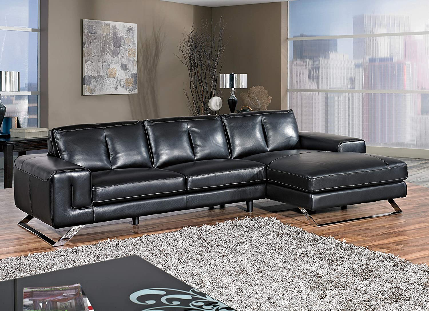 Incredible Cortesi Home Contemporary Manhattan Genuine Leather Sectional Sofa With Right Facing Chaise Lounge Black 116 Wide Pdpeps Interior Chair Design Pdpepsorg