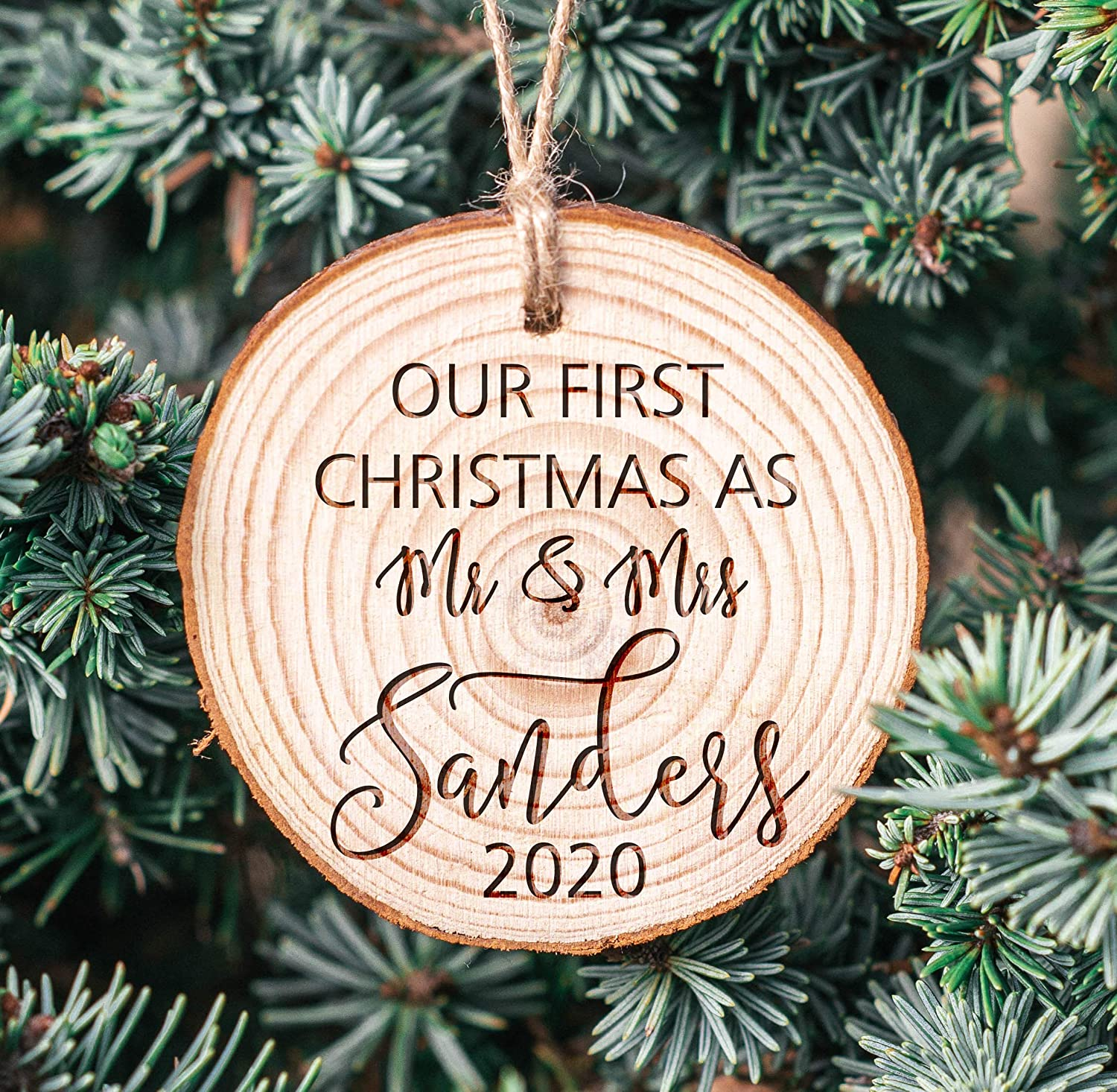 Newlywed Gift Our First Christmas Ornament Married Mr and Mrs Personalized Christmas Ornament Personalized Ornament First Christmas