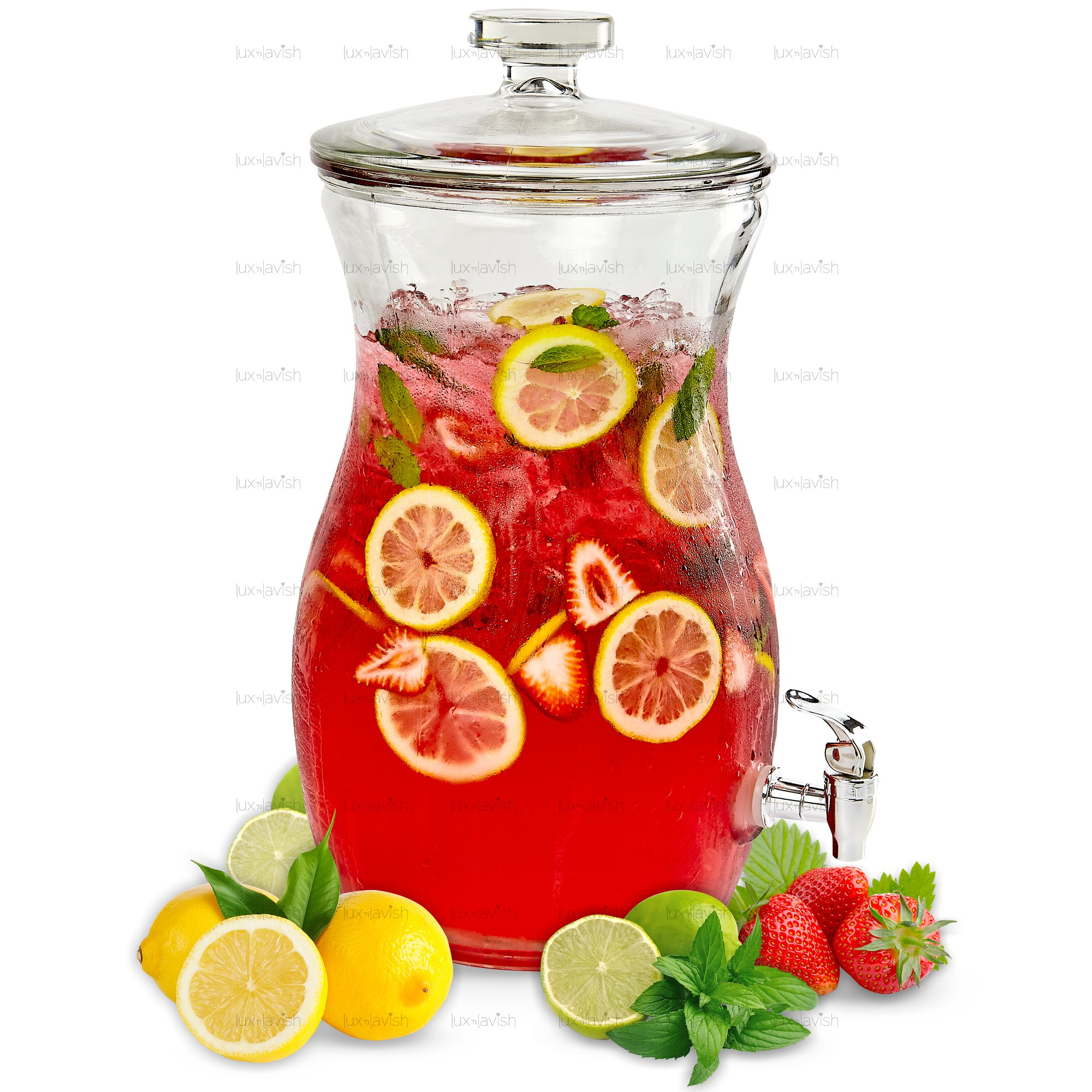 Lux 'n Lavish 2.6 Gallon Cold Beverage Dispenser - Spigot and Lid – Elegant Glass Party Buffet Centerpiece for Iced Tea, Lemonade, Fruit Punch, Cocktails and All Drinks