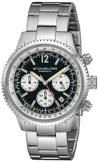 Stuhrling Original Monaco 669B - Reloj de Cuarzo, para Hombre, con Corea de Acero Inoxidable, Color Plateado: Amazon.es: Relojes