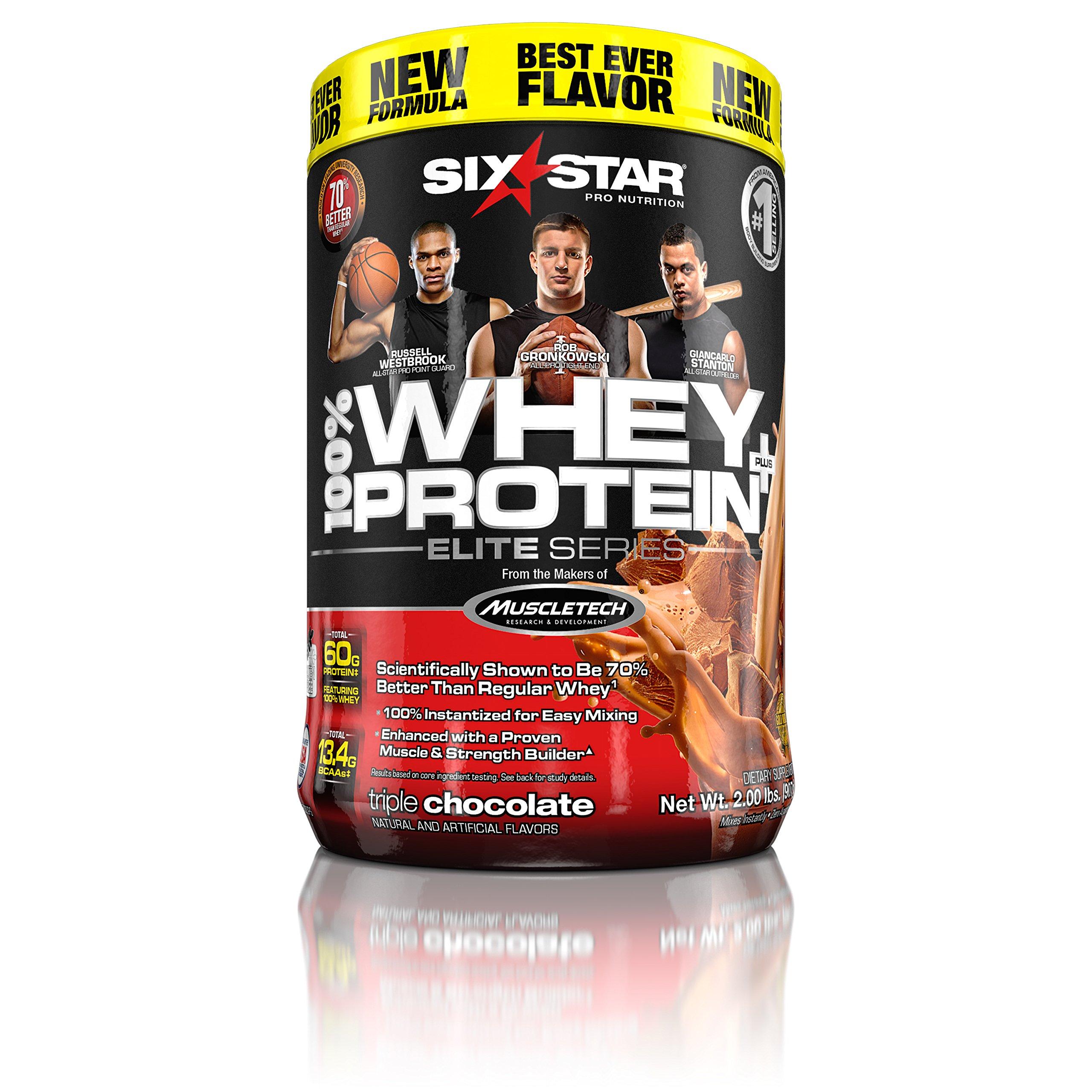 Six Star Pro Nutrition 100% Whey Protein Plus, Whey Protein Powder, Triple Chocolate, 2 Pound