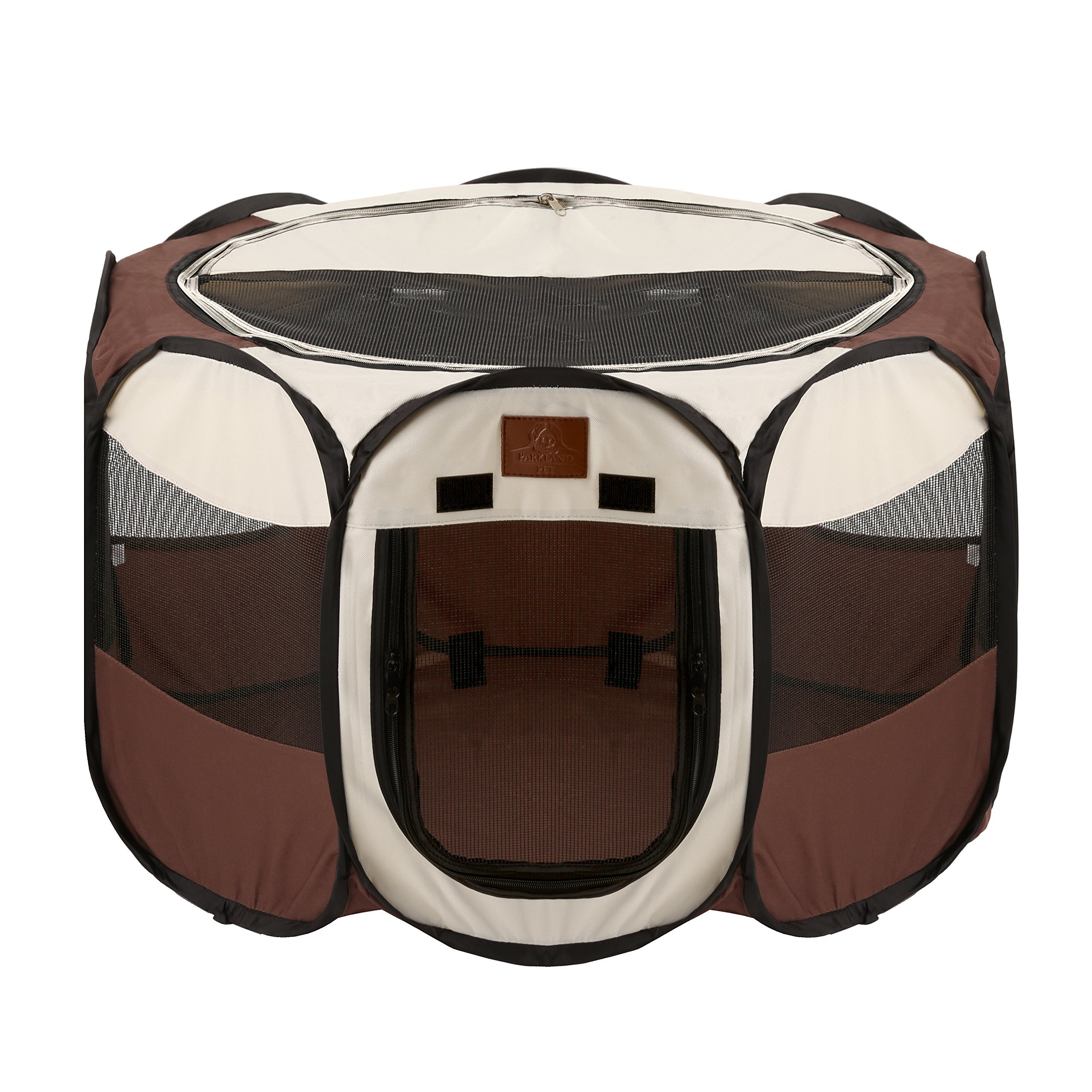 Parkland Pet Portable Foldable Playpen Exercise Kennel Dogs Cats Indoor/Outdoor Removable Mesh Shade Cover, Small