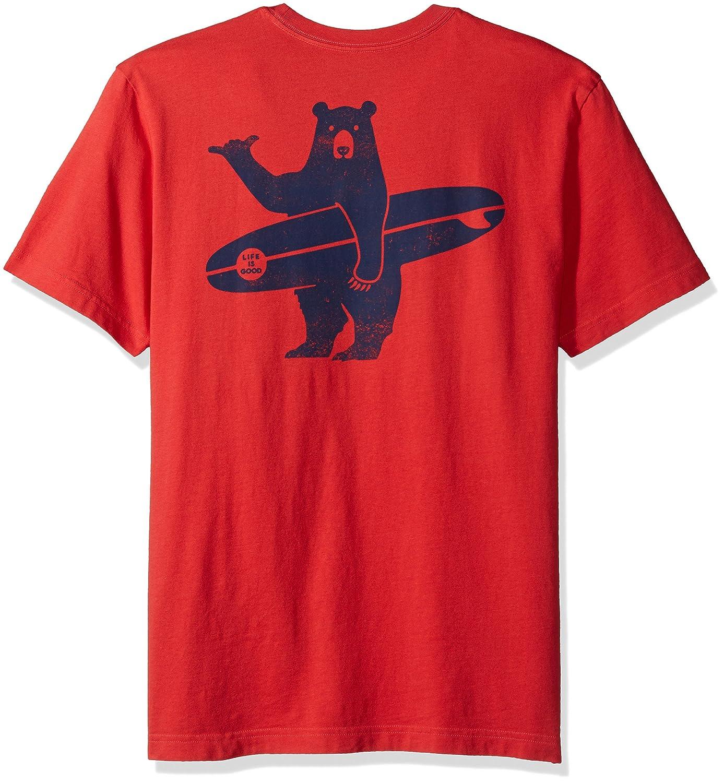Life is Good Mens Pocket Crusher Surf Bear Amrred T-Shirt,