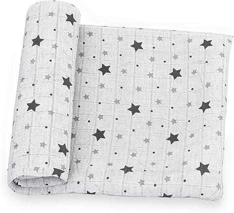 Elfique para bebé niño Baby cover Manta funda de dos capas en muselina de algodón suave y agradable al tacto niño bebé niños 120x120 BLANCO CON ESTRELLAS: Amazon.es: Bebé