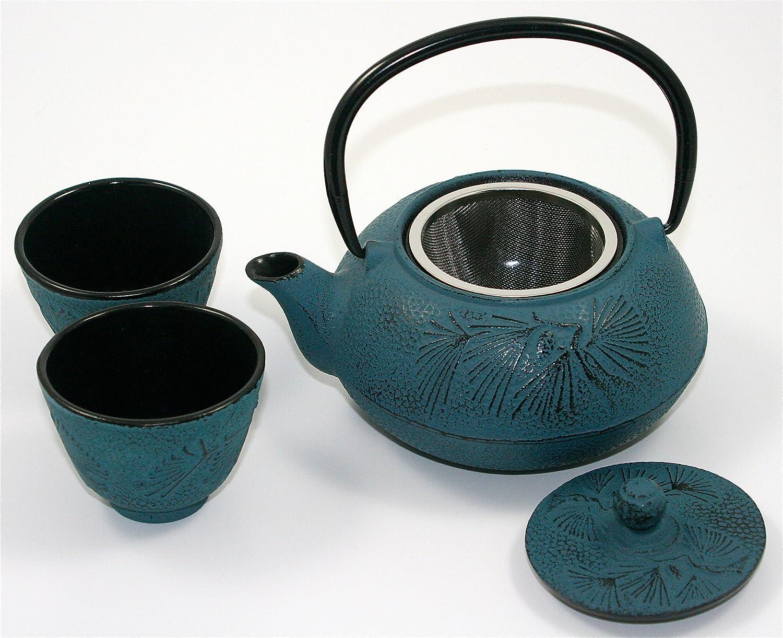 100 ml Tetera china hecha a mano de hierro fundido azul dise/ñado en China por Lu Ya Zong e infusor de acero con dos tazas a juego 600 ml regalo perfecto