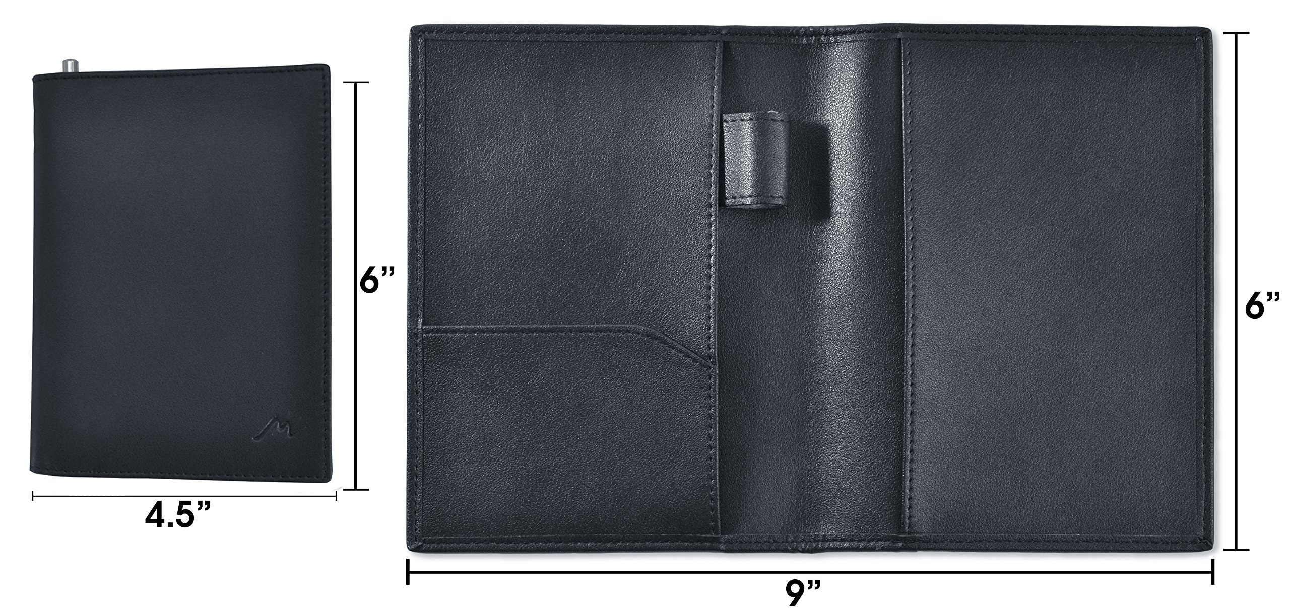 Field Notes/Moleskine Pocket Notebook Cover by Metier Life | Canvas with Vegan Leather | Fits Journals 3.5'' X 5.5'' | With Included Metier Life Notebook and Metier Pen (Vegan Leather Black) by Metier Life (Image #3)