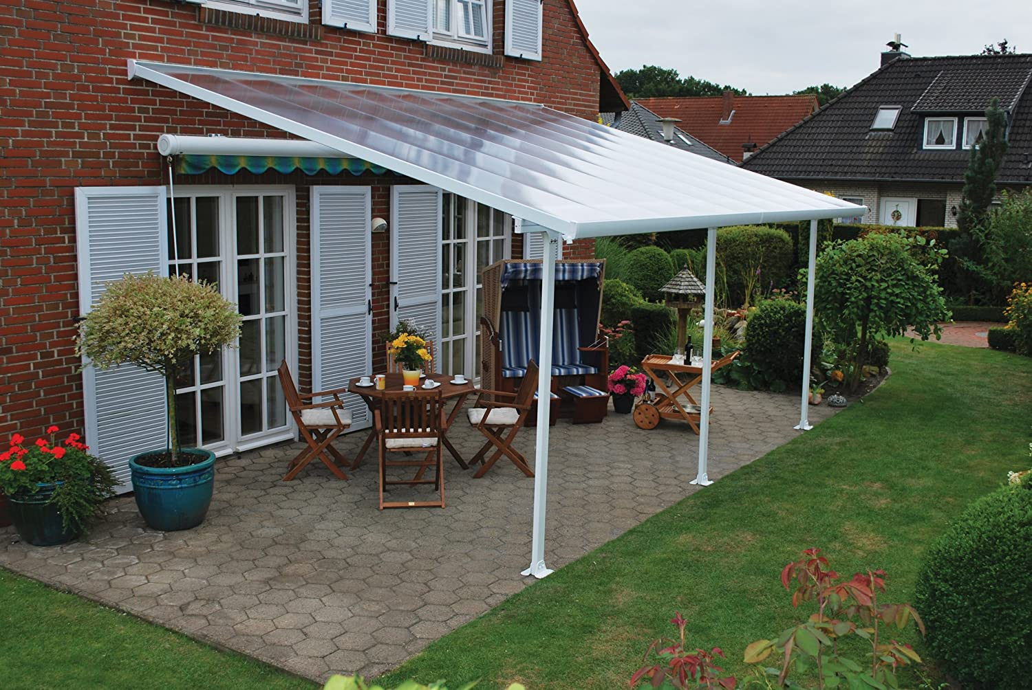 Amazon Com Palram Feria Patio Cover 13 X 20 White Greenhouse