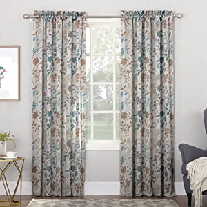 "Sun Zero Kara Floral Print Energy Efficient Rod Pocket Curtain Panel, 54"" x 84"", Stone"