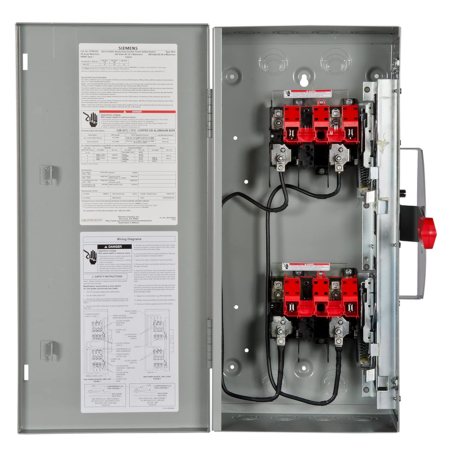 91lAx5zr1rL._SL1500_ siemens dtnf222 60 amp 2 pole 240 volt 2w non fused double throw double throw safety switch wiring diagram at n-0.co