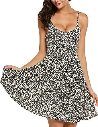 2f6a55b10c89 ACEVOG Women s Sleeveless Scoop Neck Summer Beach Mini Flared Tank Dress  Black S