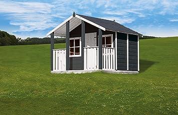 Kinderspielhaus Aus Holz Mit Uberdachter Terrasse Deinspielgeraet