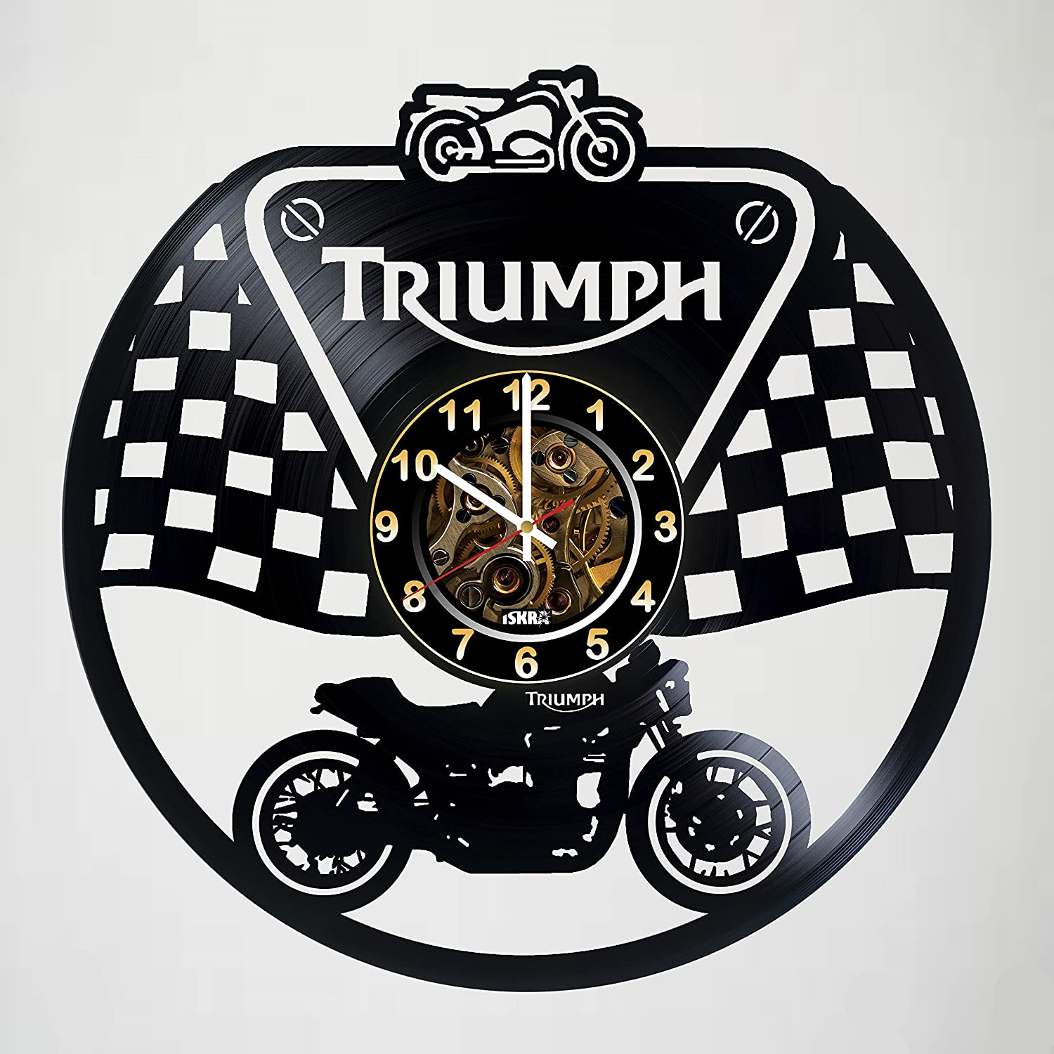anniversary customize your clock Triumph wedding Motorcycle handmade artwork unique home bedroom living kids room nursery wall decor great gifts idea for birthday Vinyl Record Wall Clock